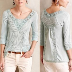 ANTHROPOLOGIE Meadow Rue Lace Medley Top White L